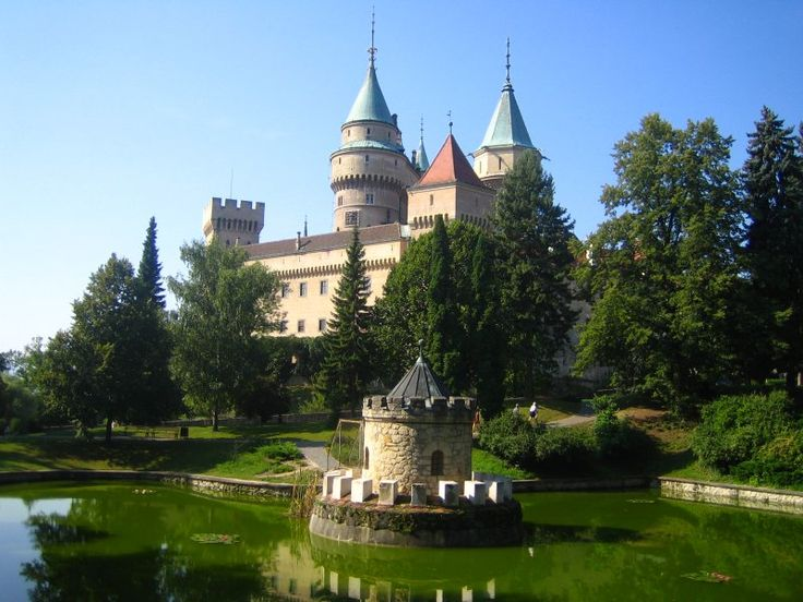 Bojnice Castle is a medieval castle in Bojnice, Slovakia. It is a Romantic castle with some original Gothic and Renaissance elements built in the 12th century. It was rebuilt in 1889-1910 and completely reconstructed after a fire in 1950.