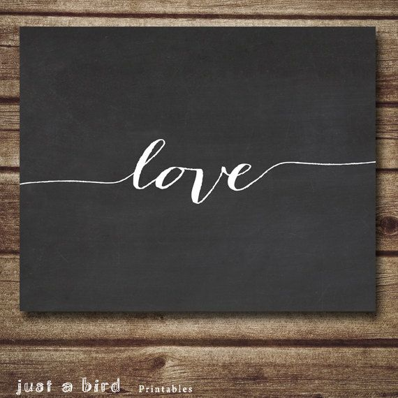 Love wall decor poster chalkboard art por Justabirdprintables