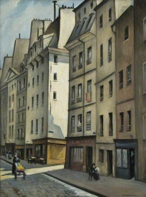 C.R.W. Nevinson - Quartier Latin, Paris, France 1920 from soircharmant