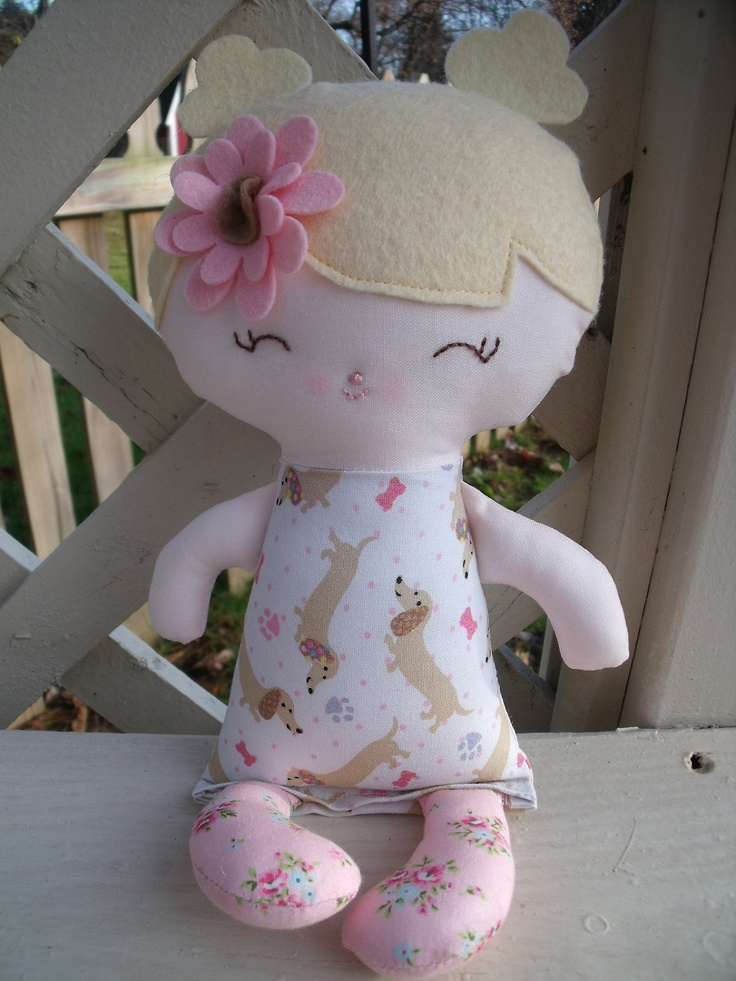 A handmade cloth doll--my friend Caroline  www.facebook.com/dandelionwishesbymimi  www.dandelionwishesmimi.etsy.com