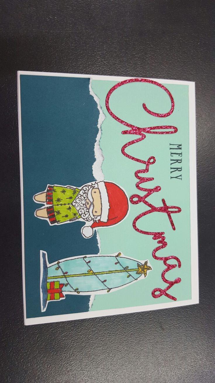 Surfing Santa. CTMH stamp set. card by Vikki