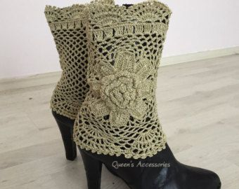 These boot cuffs are made of best quality yarn with gold metallic sparkles. Has unique flower pattern.  One size, fits all.  READY TO SHIP