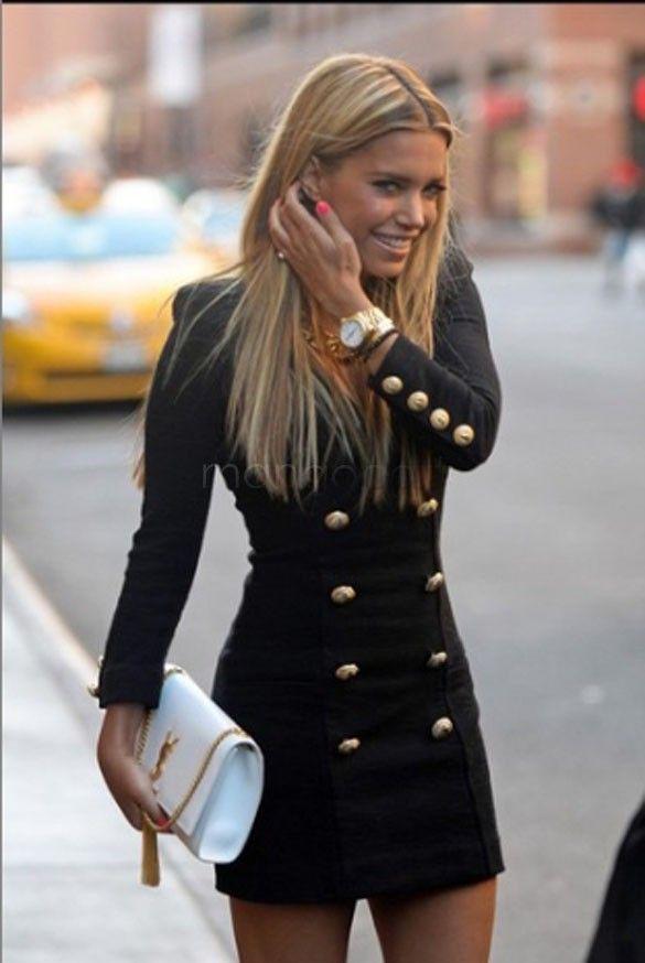 Casual vestito aderente vintage donne ufficio vestito da affari indossare al lavoro a manica lunga doppio pulsante slim vestito aderente 63