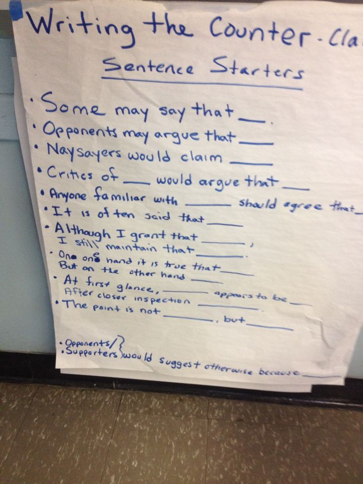 counter claim sentence starters