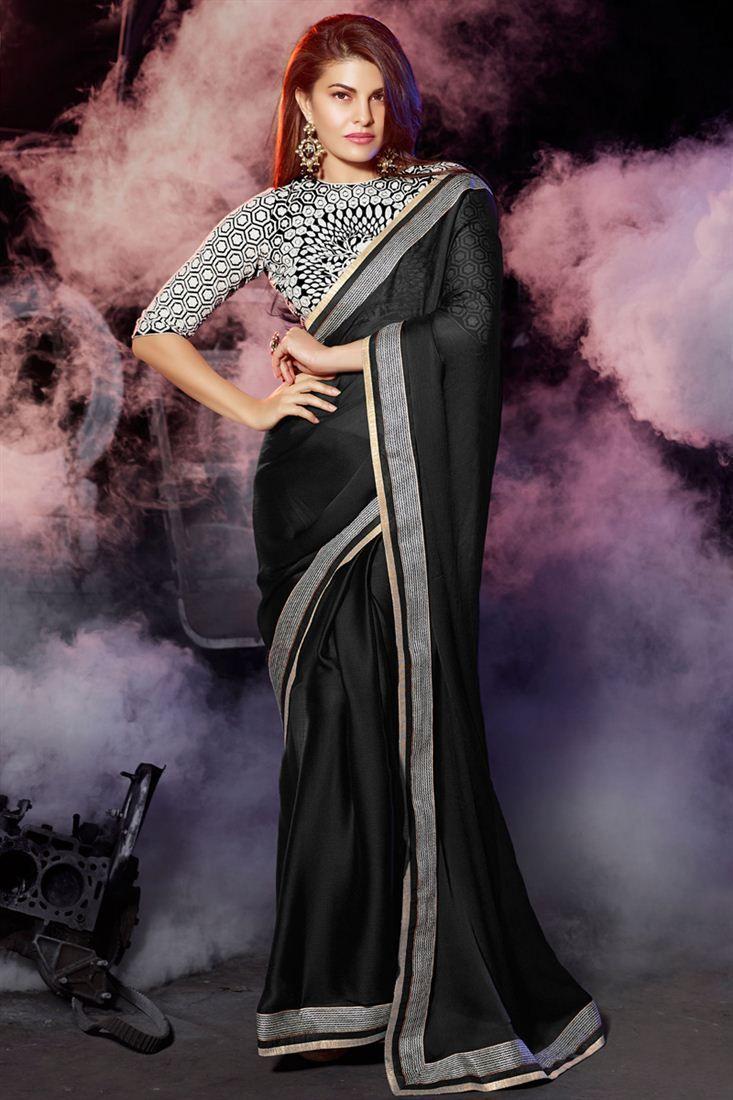 Jacqueline Fernandez Black Color Designer Saree