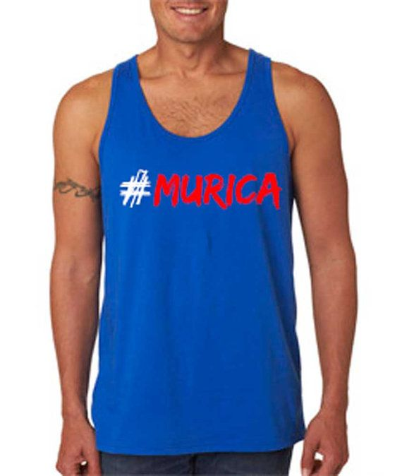 Men's 4th of July #Murica Royal Blue Tank Top. Available in M, L, XL, & XXL. 4th of July Shirt. Independence Day. American, Patriotic Tank. on Etsy, $18.00