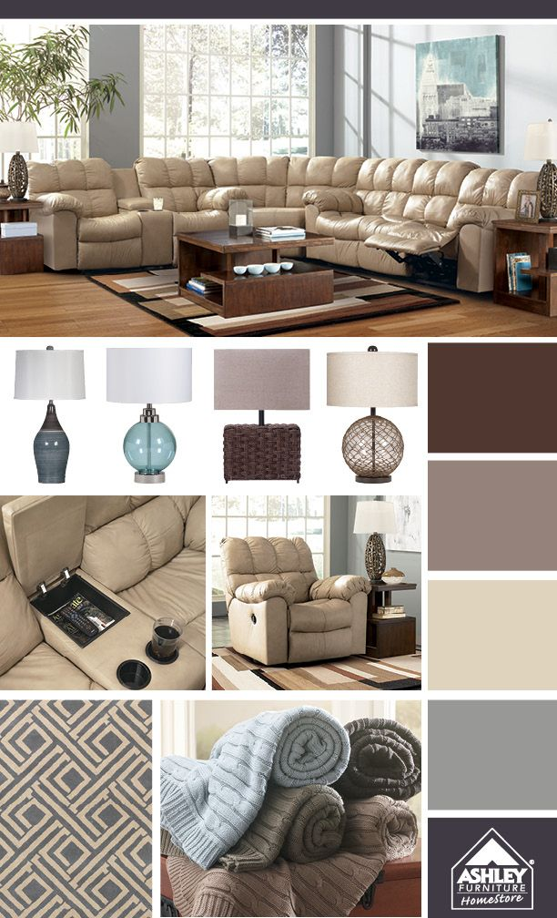 from ashley furniture home store huge sectional with cupholders