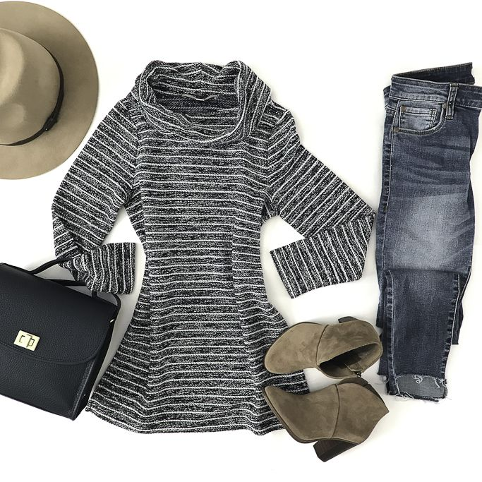 striped cowl neck sweater navy leather crossbody casual fall outfit