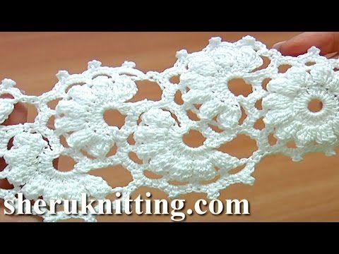 Crochet Lace Tape Tutorial 2 Part 1 of 2 Crochet Popcorn Stitch Round Motif