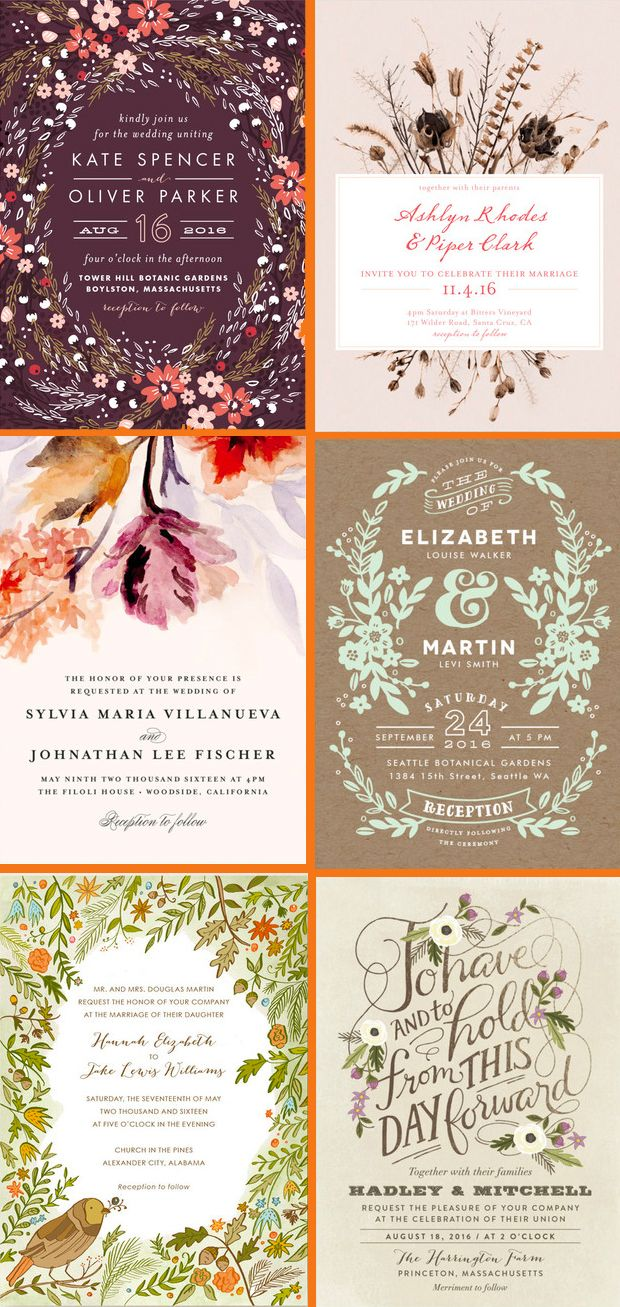 6 beautiful Floral Fall Inspired Wedding Invitations from the @Minted community of artists.