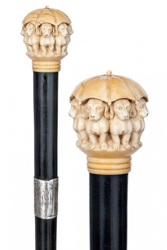 English Ivory Dachshund Cane-Ca.1900-Ivory ball kno