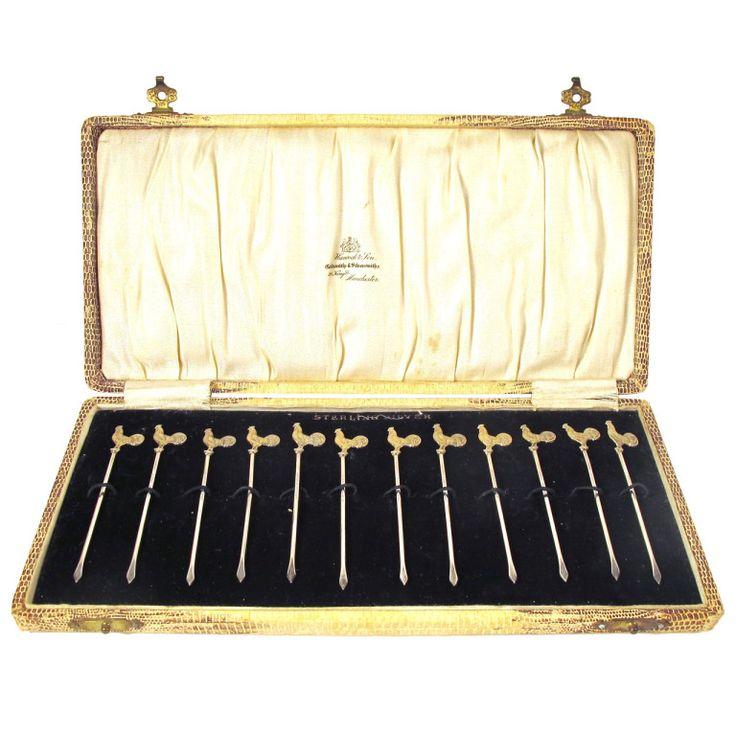 Set Of Sterling Silver Cockerel Cocktail Sticks