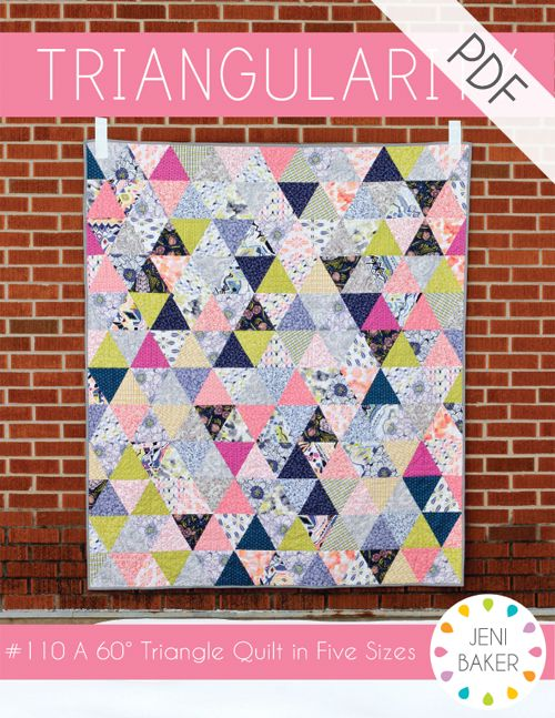 Learn to sew with equilateral triangles in this fun, modern quilt pattern. Cut triangles with a standard acrylic ruler or provided template. There...