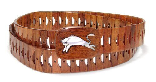 Wooden Belt with BULL Picture Design Pattern Solid Wooden Buckle