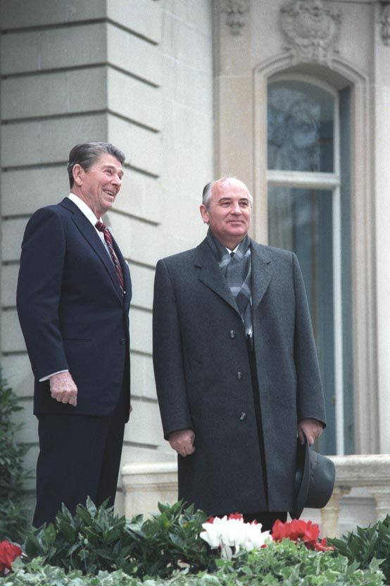 President Ronald Reagan meets with Soviet General Secretary Mikhail Gorbachev during the Geneva Summit in Switzerland in 1985.