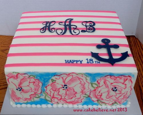 Preppy Lilly Pulitzer striped monogrammed cake