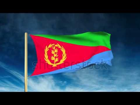 Eritrea flag slider style. Waving in the wind with cloud background anim...