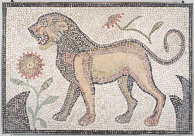 Little Known Roman Jewish Mosaic Art, Hamman Lif Synagogue in Tunisia: Left-Facing Lion