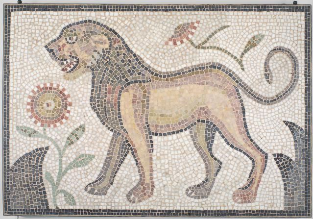 Little Known Roman Jewish Mosaic Art, Hamman Lif Synagogue in Tunisia: Left-Facing Lion