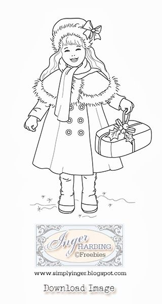 Free Digital stamp -Vintage Christmas Girl by Inger Harding