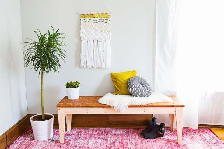 Woven Leather Bench DIY