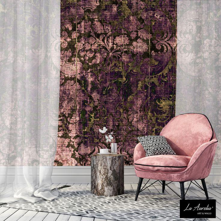 Think Pink... (Wallpaper-Design 'Dazzle' from Collection 2018: 'Prestige') #LaAurelia #wallpaper #wallcovering #artnouveau #artdeco #livingroom #pink #interior #behang
