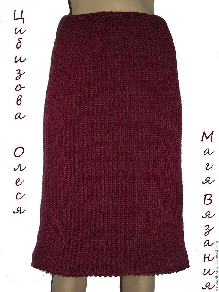 """Купить Вязаная юбка крючком в деловом стиле """"Темная вишня"""" - фуксия, однотонный, юбка"""