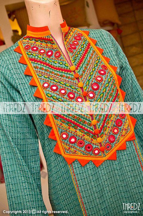 Green EMB Khaddi Single Kurta (92197), Thredz Online