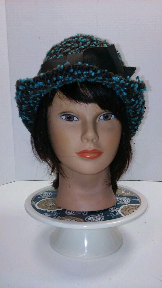 Vintage Women's Tweed Fedora Blue Black Hat Union Made Size S/M USA #Fedora
