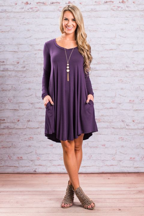 """Sweeter Than Dessert Dress, Plum""This may be the most beautiful casual little jersey knit dress we've ever seen. That color is stunning!! #newarrivals #shopthemint"