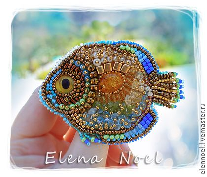 Handmade brooches. Fair Masters - handmade precious fish embroidered brooch with amber. Handmade.