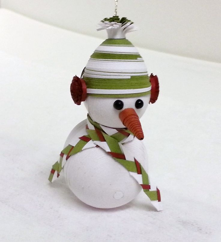 Snowman Christmas Ornament Paper Quilled in by WintergreenDesign