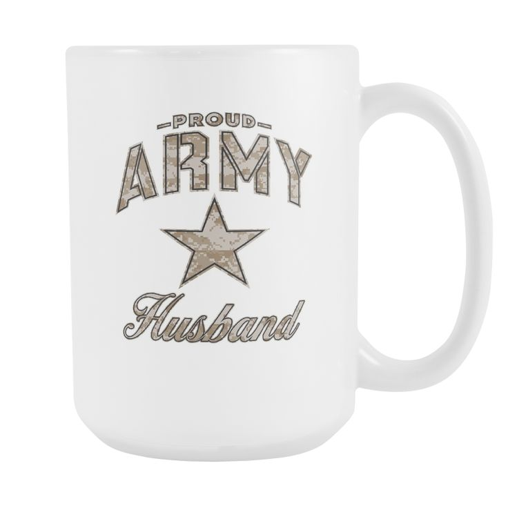 Army Husband Coffee Mug (Camo Design on White Cup)