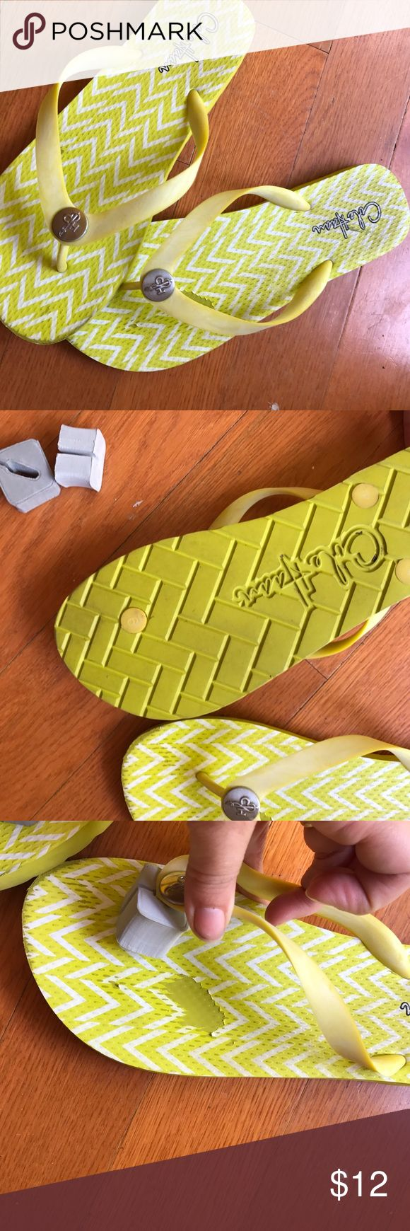 Cole haan yellow chevron flip flops Bright and cheery yellow flip flops! Good used condition. Spot on footbed, pictured, some scuffing by toes, also pictured. Cole Haan Shoes Sandals