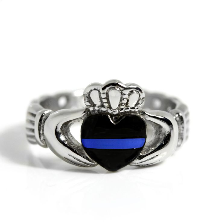 Thin Blue Line Stainless Steel Claddagh Ring Front View