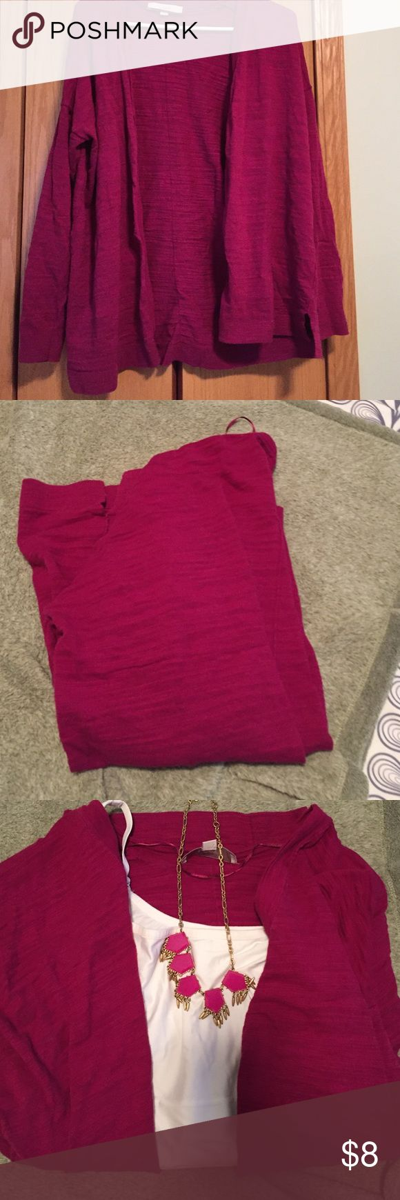 EUC LOFT Open front cardigan LOFT open front cardigan in a deep magenta. EUC. Lightweight, long sleeves, slightly oversized fit. Material has a burnout quality to it . LOFT Sweaters Cardigans