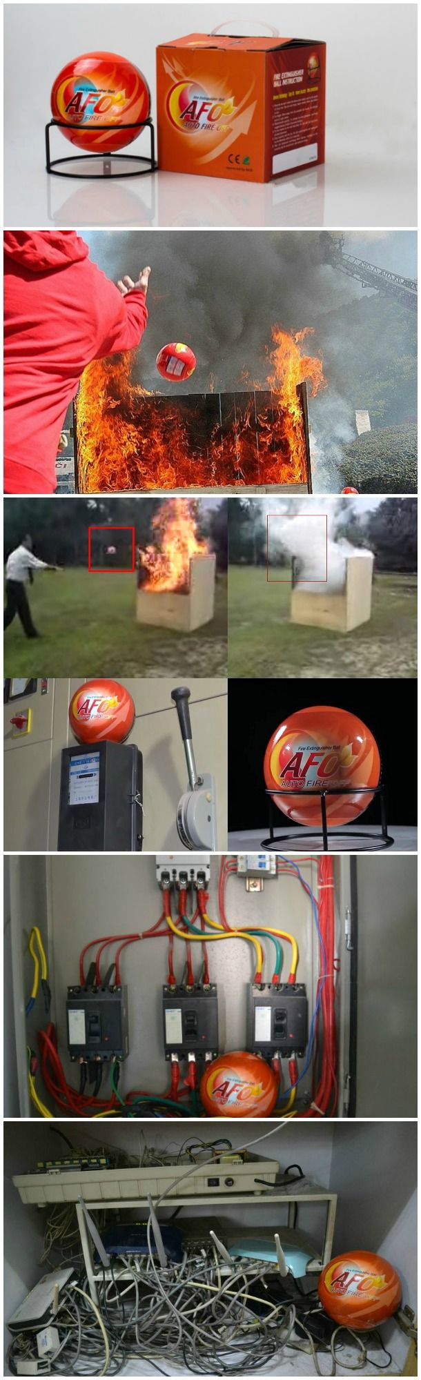AFO Fireball is the easy to use fire suppression device that self activates upon contact with fire, has a built-in fire alarm and environmentally friendly.
