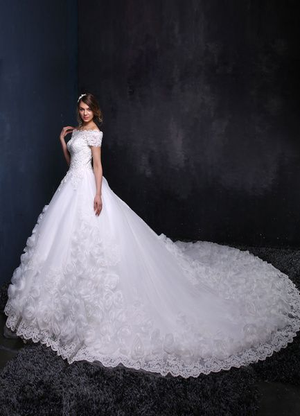 Cathedral #Wedding #Dress Off The Shoulder Lace Up Flower Bridal Gown Cathedral Train Beading Lace Applique Plus Size Princess Bridal Dress