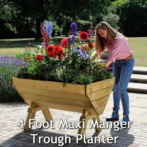 The Maxi Manger is a popular Wooden Plant Trough, ideal for growing your own vegetables or using as a stylish flower trough planter on the patio.