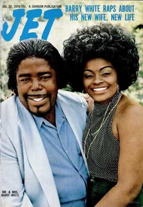 Barry White with his wife on the cover of Jet magazine, August 1974.
