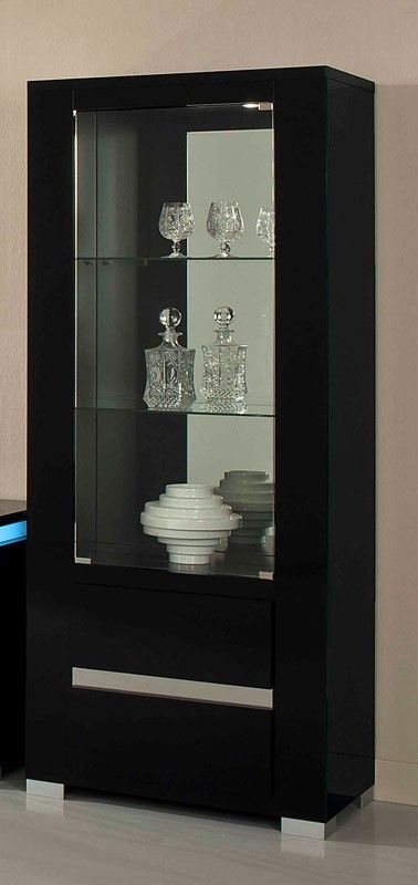 Elite Modern Italian Black Lacquer Dining Table Display CabinetDisplay