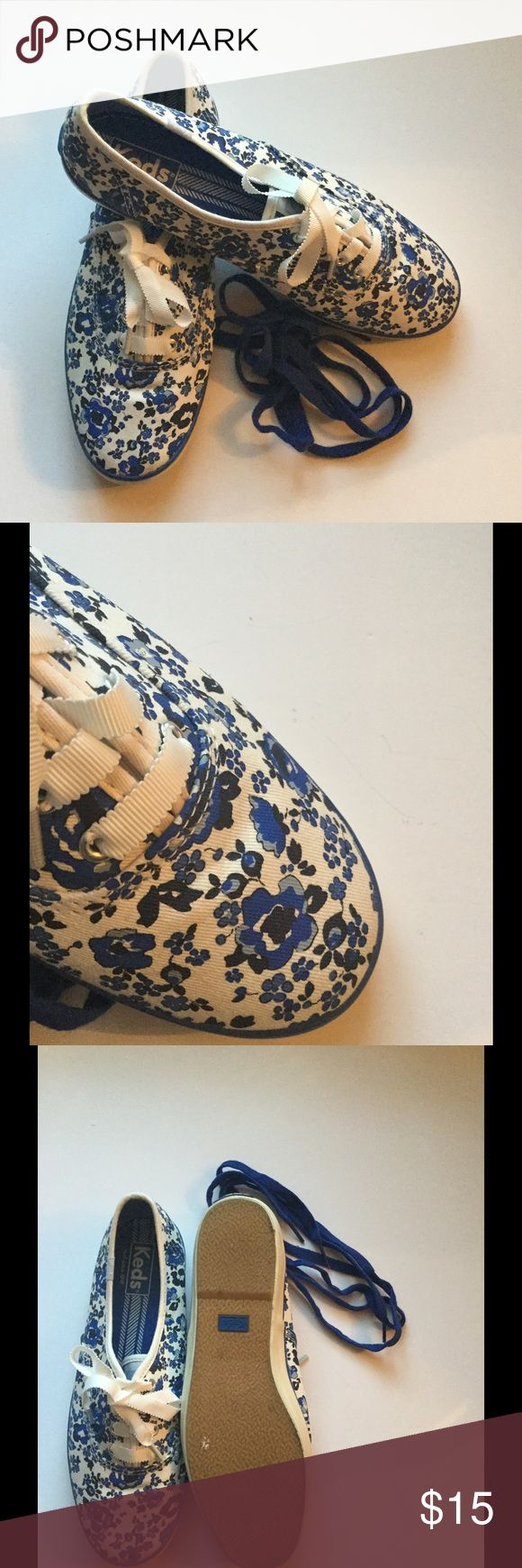 Keds Floral Tennis Shoes Keds blue floral tennis shoes, clean, like new condition, warn only a couple of times, comes with white and blue laces Keds Shoes Sneakers