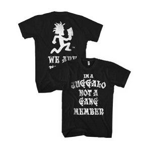 Insane Clown Posse Not a Gang Member Mens Tee - Rep your ICP pride with this Insane Clown Posse Not a Gang Member Mens T-Shirt Size Medium! This product is a black t-shirt which boasts images from the band's 5th studio album The Amazing Jeckel Brothers, the fifth in the groups Dark Carnival Mythology. 100% Cotton.