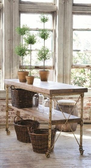 Industrial Farmhouse Kitchen Island or work table   Friday Favorites at www.andersonandgrant.com