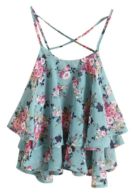 floral print crop top green fun clothes pinterest sommer kleidung fee und sommer. Black Bedroom Furniture Sets. Home Design Ideas