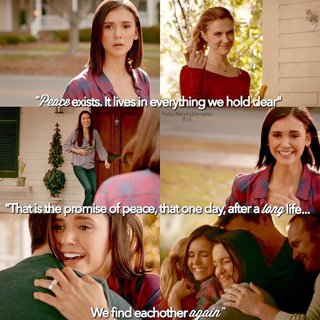 - {TVD • 8.16} Elena reuniting with her family in the afterlife. Honestly, I was so glad this is how our Elena went out, having exactly what she wanted back since the very first episode ❤