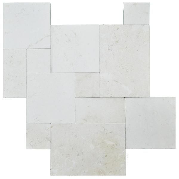 Myra Beige Tumbled French Pattern Limestone Pavers Uses: Excellent for Pools, decks, patios, lanais, entry ways, docks, borders, and walkways. Residential and commercial with heavy and light traffic.