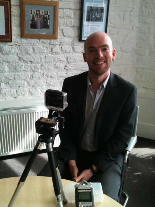 Michael Gallen in the hot seat, recording video for #WildeStories. copyright athenamedia