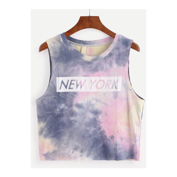 SheIn(sheinside) Letters Print Tie-dye Tank Top ($8.99) ❤ liked on Polyvore featuring tops, multi color, summer tanks, camisole tops, summer tops, tie dye tank and summer tank tops