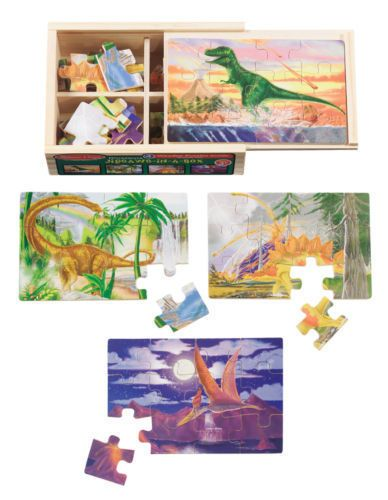 RARE DISCONTINUED Melissa & Doug Dinosaur in a Box Jigsaw Puzzles Set of 4 #MelissaDoug #dinosaur #Daycare